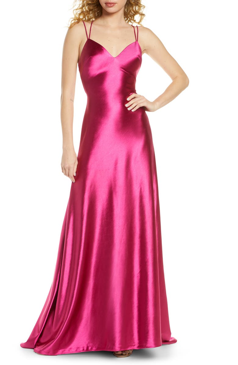 IEENA FOR MAC DUGGAL Corseted Satin Gown, Main, color, LIPSTICK