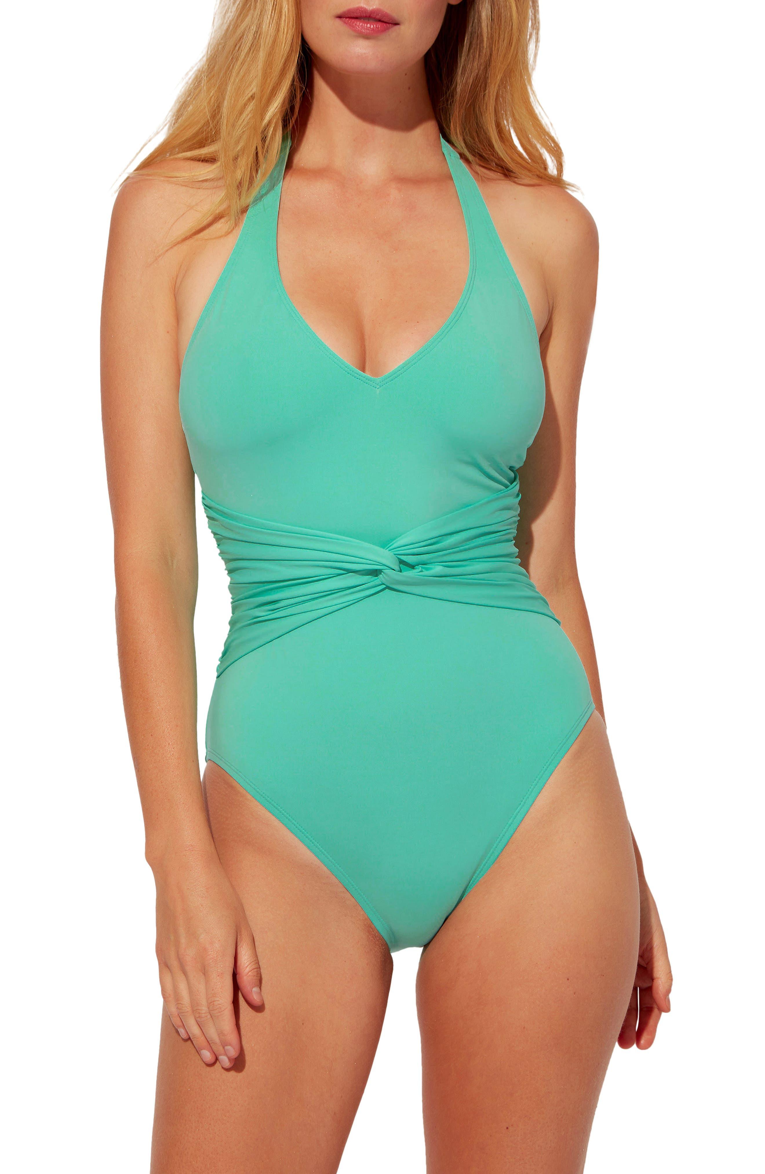 Urban Goddess Plunge Halter One-Piece Swimsuit