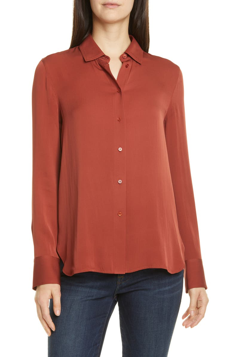 VINCE Slim Fitted Stretch Silk Blouse, Main, color, 600