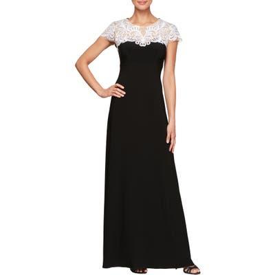 Alex Evenings Lace Yoke Gown, Black