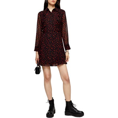 Topshop Long Sleeve Minidress, US (fits like 14) - Black