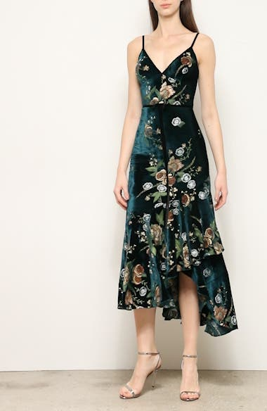 Floral Embroidered Velvet High/Low Dress, video thumbnail