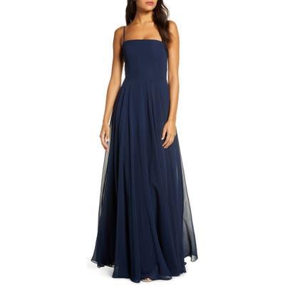 Jenny Yoo Renee Chiffon Evening Dress, Blue