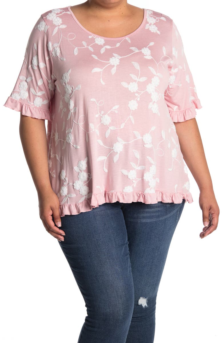 FORGOTTEN GRACE Floral Embroidered Ruffle Trim Top, Main, color, BLUSH/WHITE