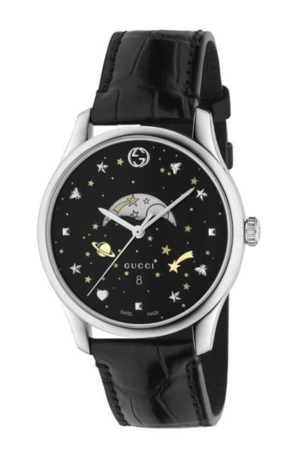 Image of GUCCI Women's Moonphase Genuine Alligator Leather Bracelet Watch, 40mm