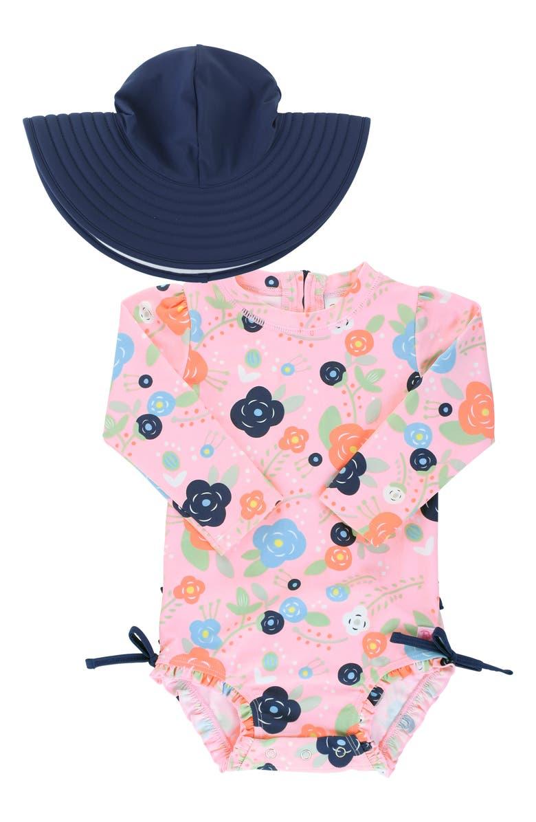 RUFFLEBUTTS Bouncing Blooms One-Piece Rashguard Swimsuit & Hat Set, Main, color, ORANGE