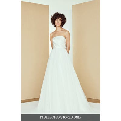 Nouvelle Amsale Etta Bow Back Strapless Ballgown Wedding Dress, Size IN STORE ONLY - Ivory