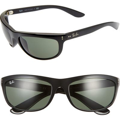 Ray-Ban 62Mm Wraparound Sunglasses - Black/ Green