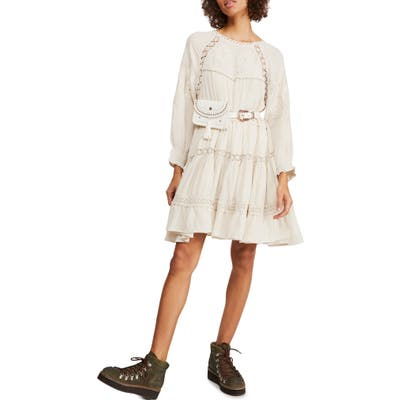 Free People Piece Of Your Heart Long Sleeve Minidress, Ivory