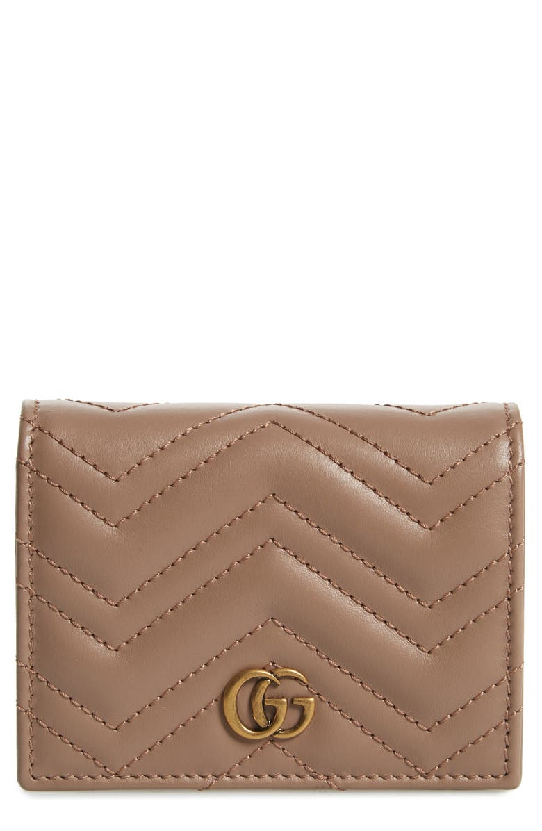 GUCCI GG Marmont 2.0 Matelassé Leather Card Case, Main, color, PORCELAIN ROSE
