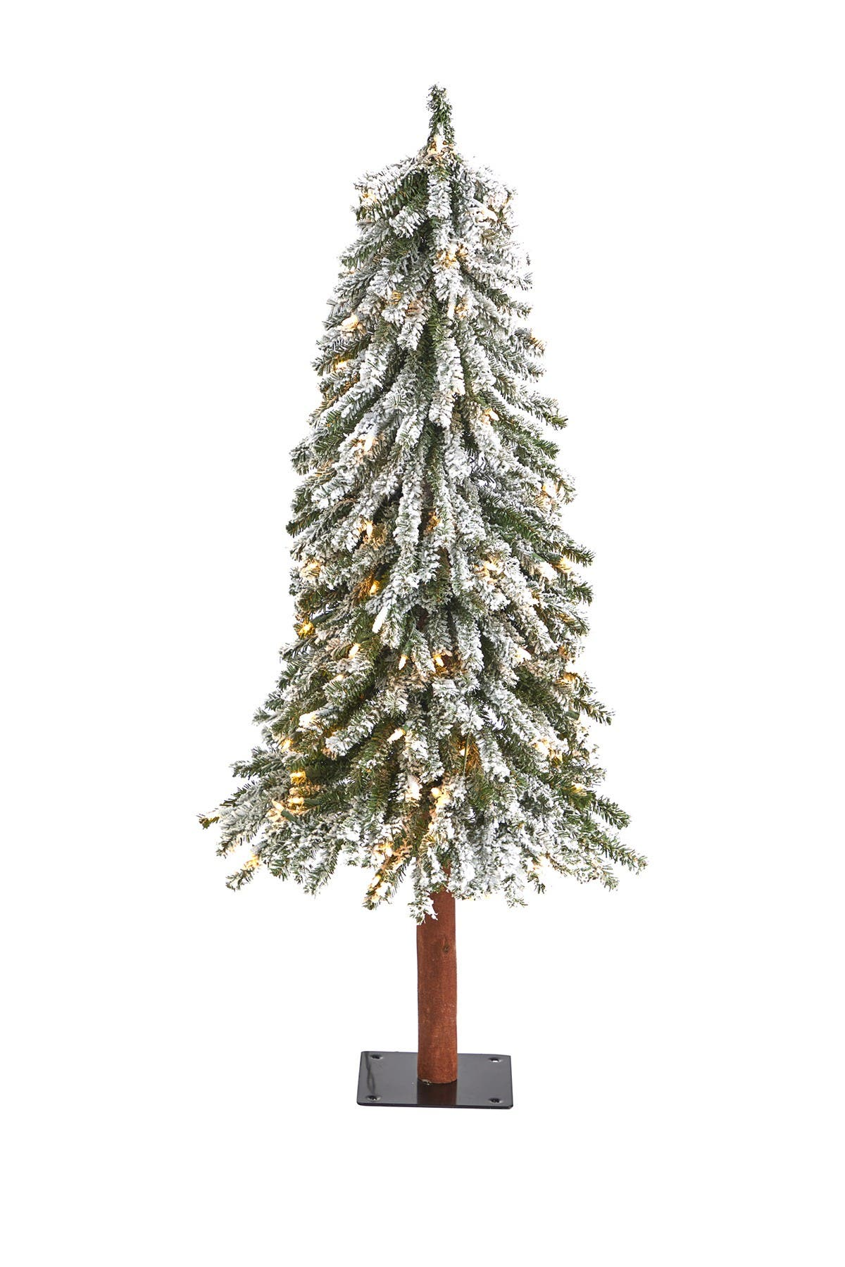 Image of NEARLY NATURAL 4ft. Flocked Grand Alpine Artificial Christmas Tree with 100 Clear Lights on Natural Trunk