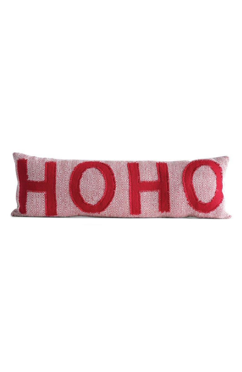 CREATIVE CO-OP Hoho Lumbar Pillow, Main, color, RED