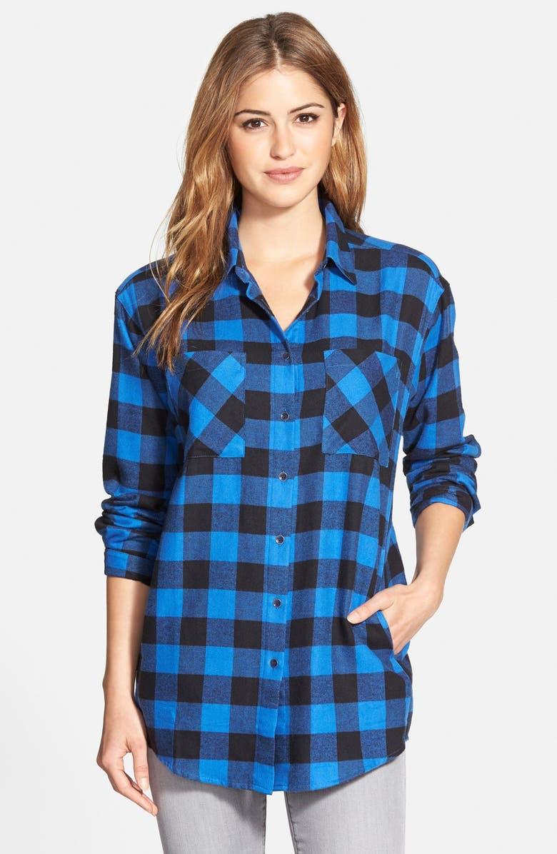 SANDRA Plaid Cotton Flannel Boyfriend Shirt, Main, color, 400
