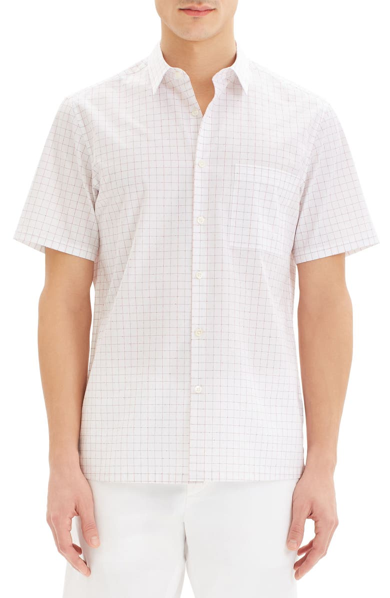 THEORY Irving Slim Fit Grid Short Sleeve Button-Up Sport Shirt, Main, color, 600