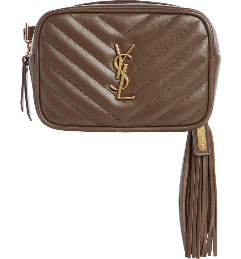 SAINT LAURENT Lou Quilted Leather Belt Bag with Tassel, Main, color, FAGGIO