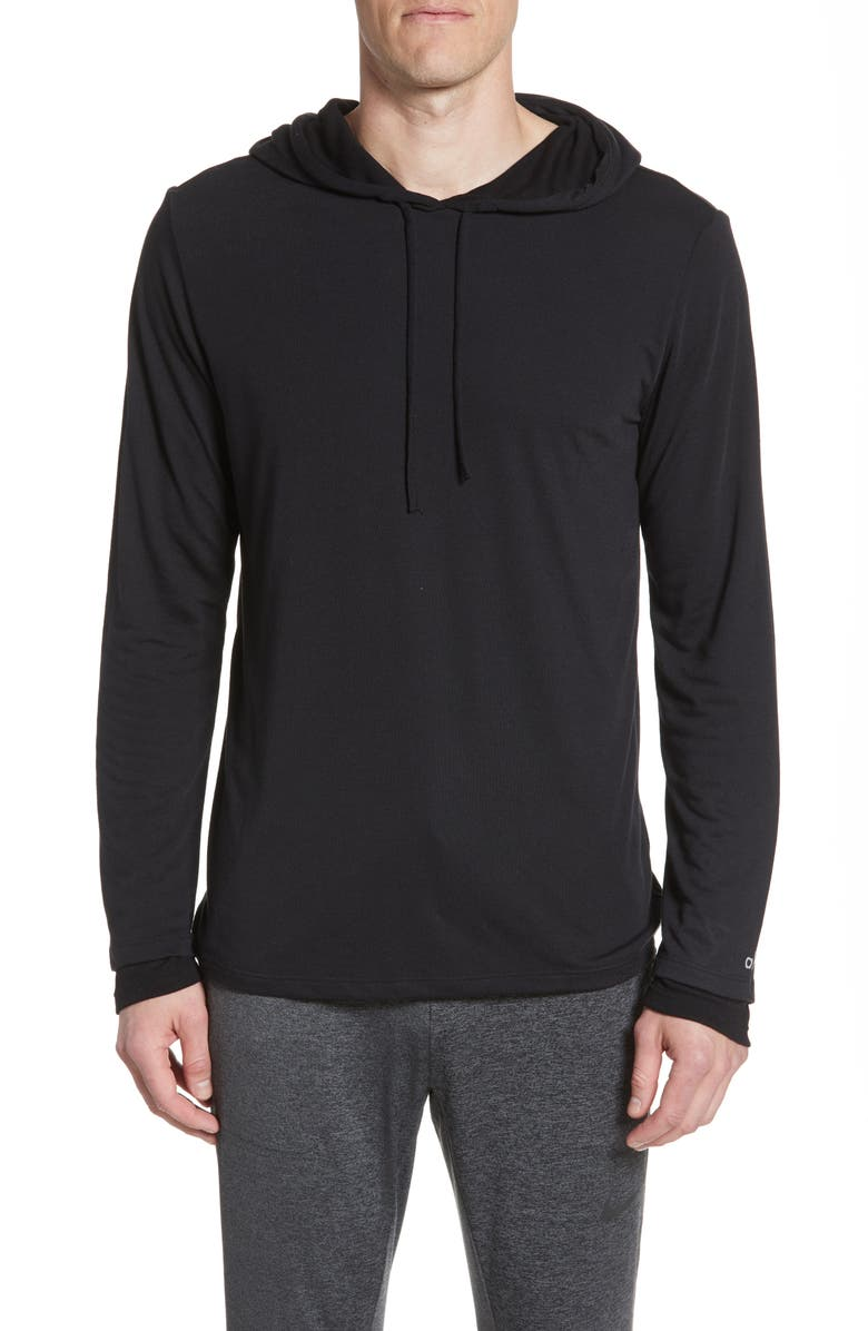 ALO Layered Long Sleeve Hooded T-Shirt, Main, color, BLACK