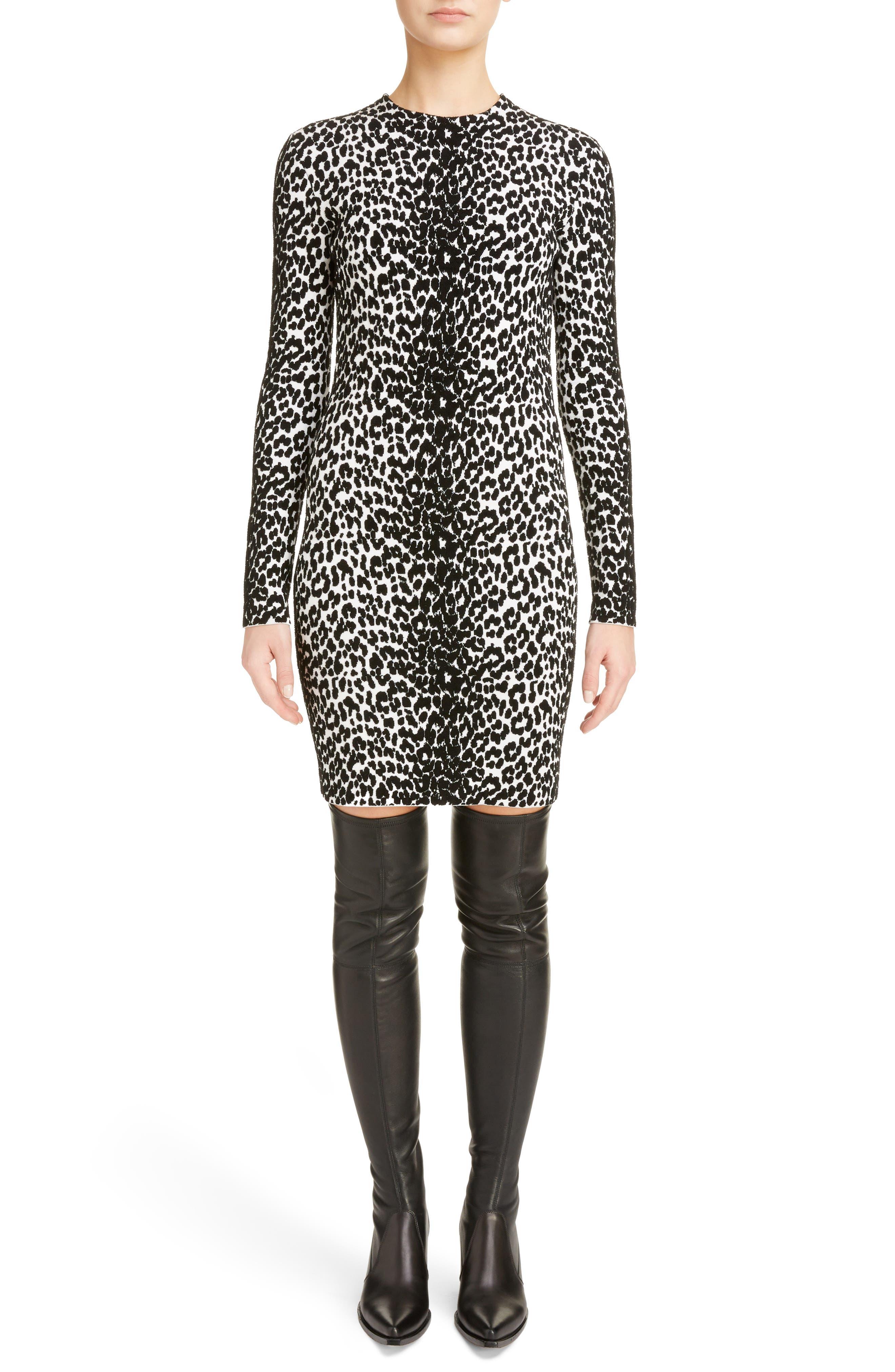 Givenchy Leopard Jacquard Body-Con Dress, Black