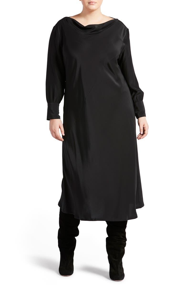 PARI PASSU Long Sleeve Bias Cut Dress, Main, color, BLACK