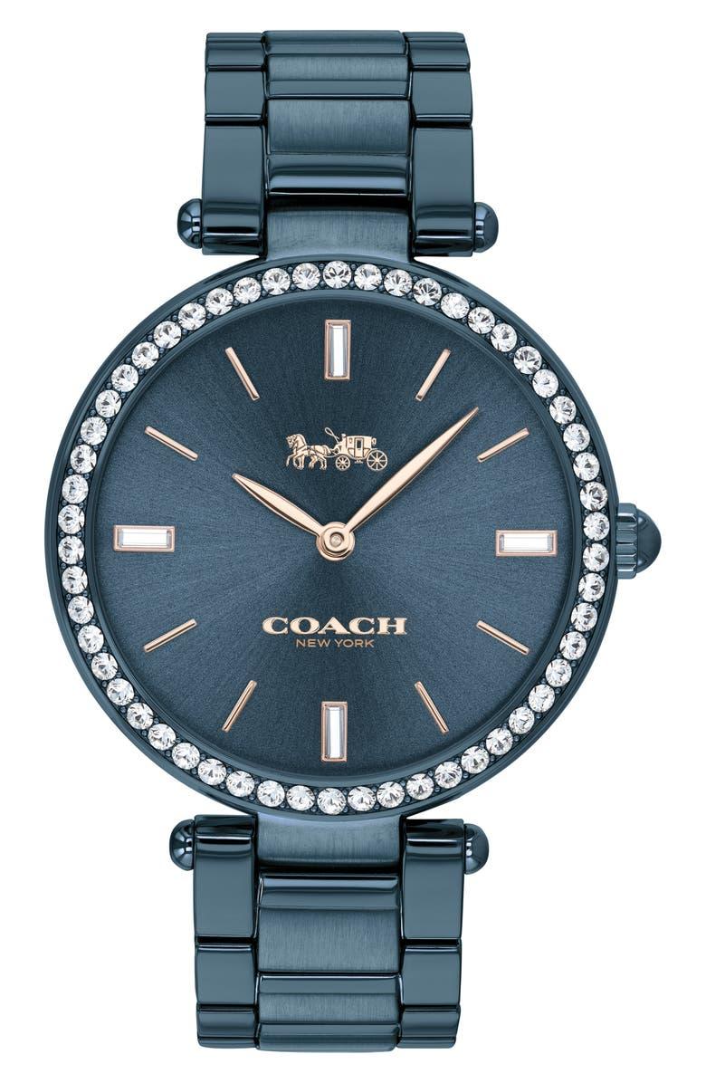 COACH Park Bracelet Watch, 34mm, Main, color, BLUE