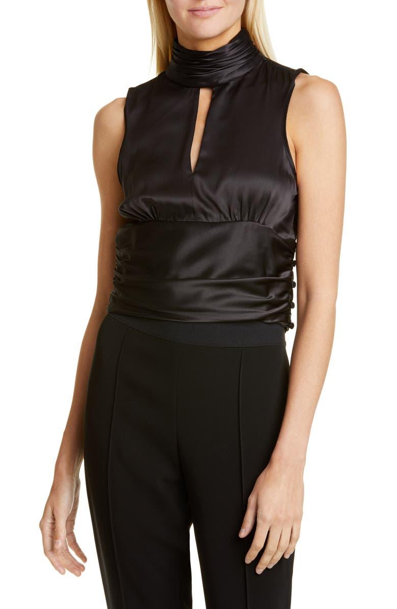 CINQ À SEPT Capri Sleeveless Silk Top, Main, color, BLACK