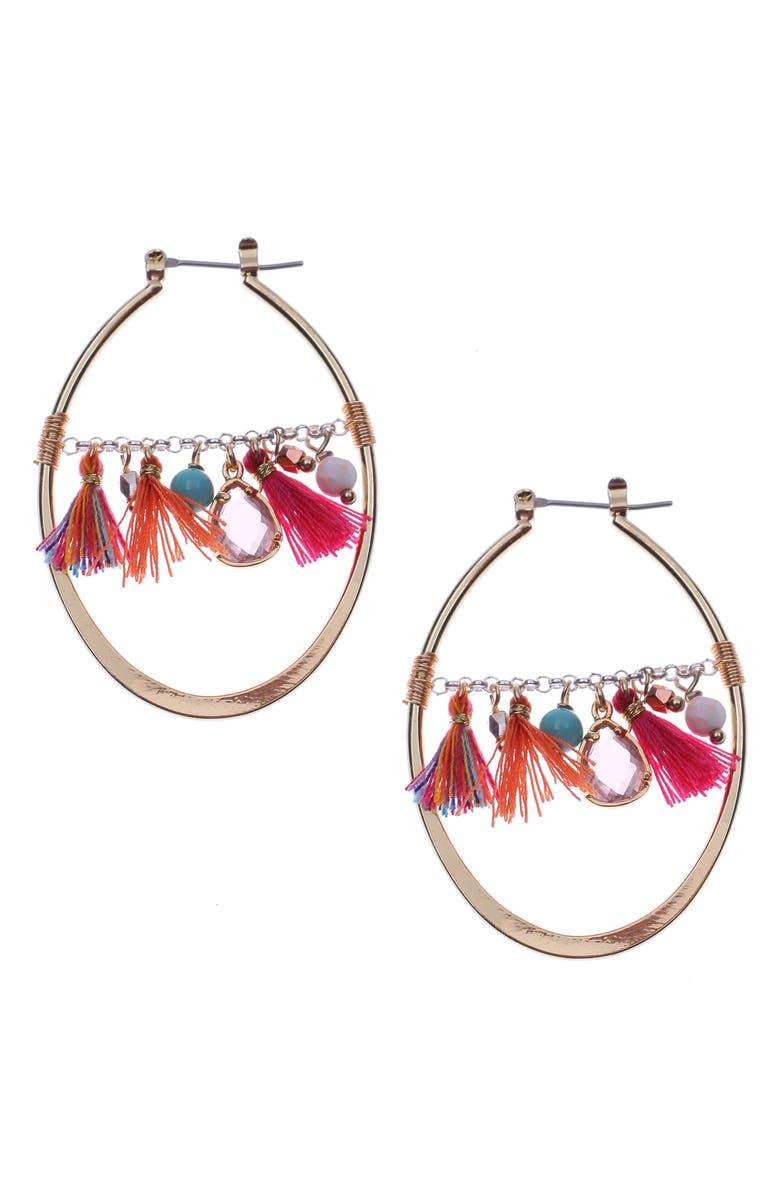 NAKAMOL DESIGN Fringe Teardrop Earrings, Main, color, GOLD/ PINK