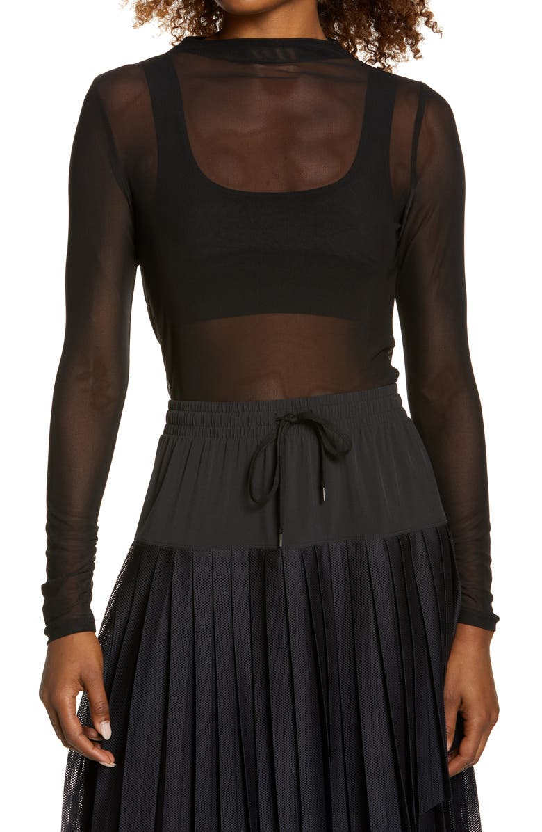 ZELLA Women's Sheer Luck Long Sleeve Mesh T-Shirt, Main, color, BLACK