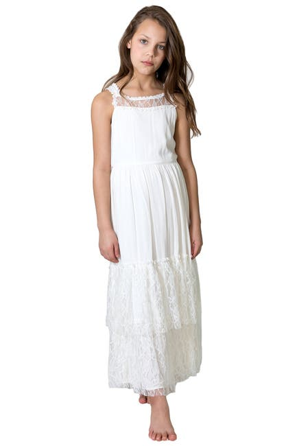 Image of Blush by Us Angels Sleeveless Gauze Lace Maxi Dress