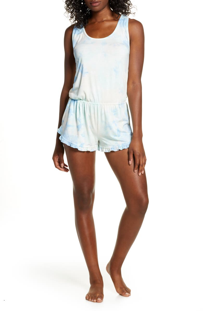 SPIRITUAL GANGSTER Tie Dye Ruffle Romper, Main, color, MNT