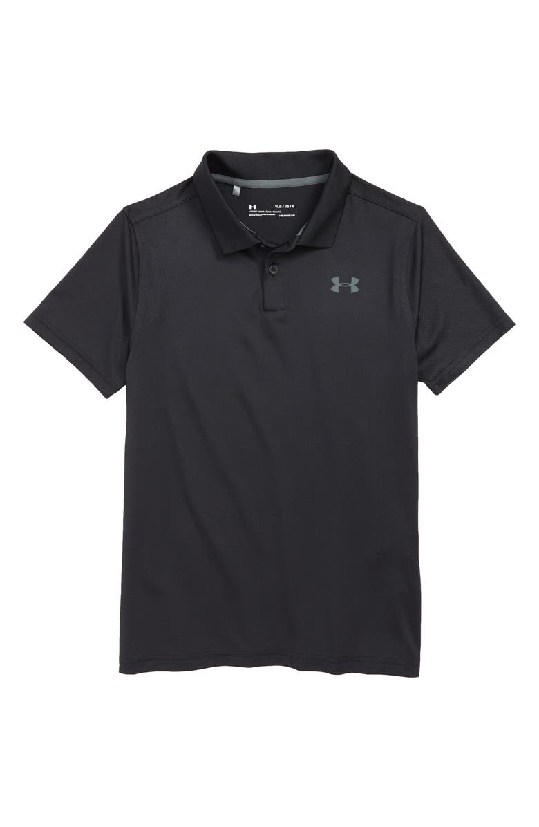 UNDER ARMOUR HeatGear<sup>®</sup> Performance Polo, Main, color, BLACK/ MOD GRAY LIGHT HEATHER