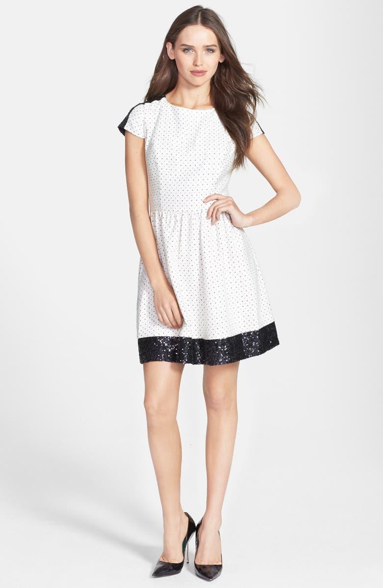 KENSIE Sequin Trim Jacquard Dot Dress, Main, color, 901