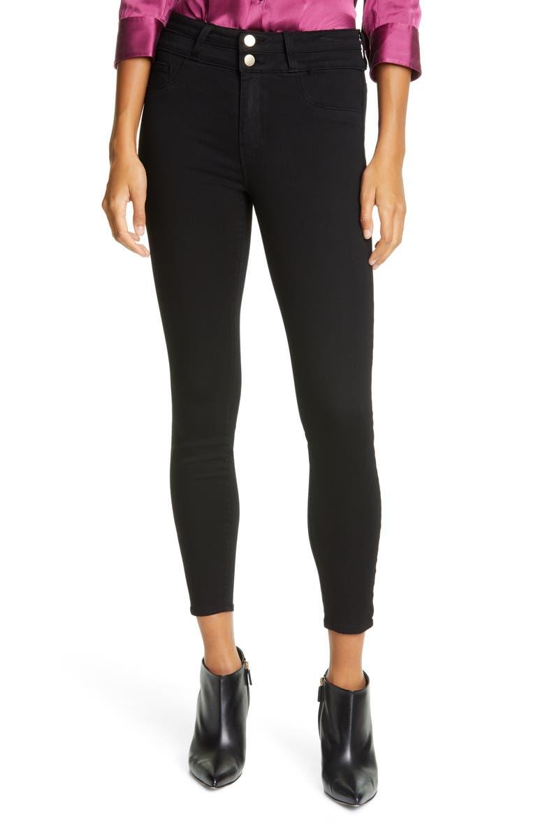L'AGENCE Peyton High Waist Crop Skinny Jeans, Main, color, NOIR