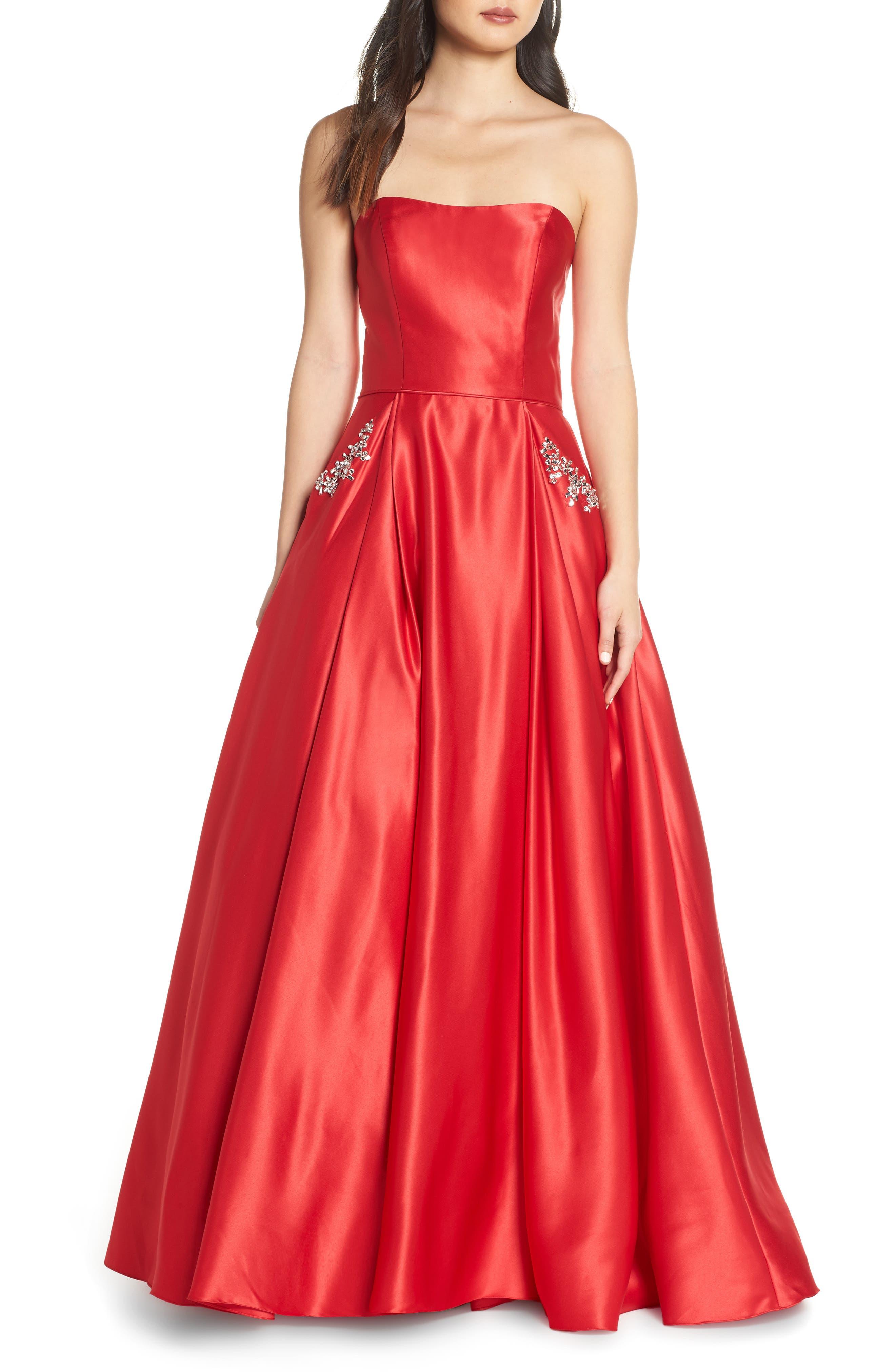 Blondie Nites Strapless Embellished Pocket Satin Evening Dress, Red