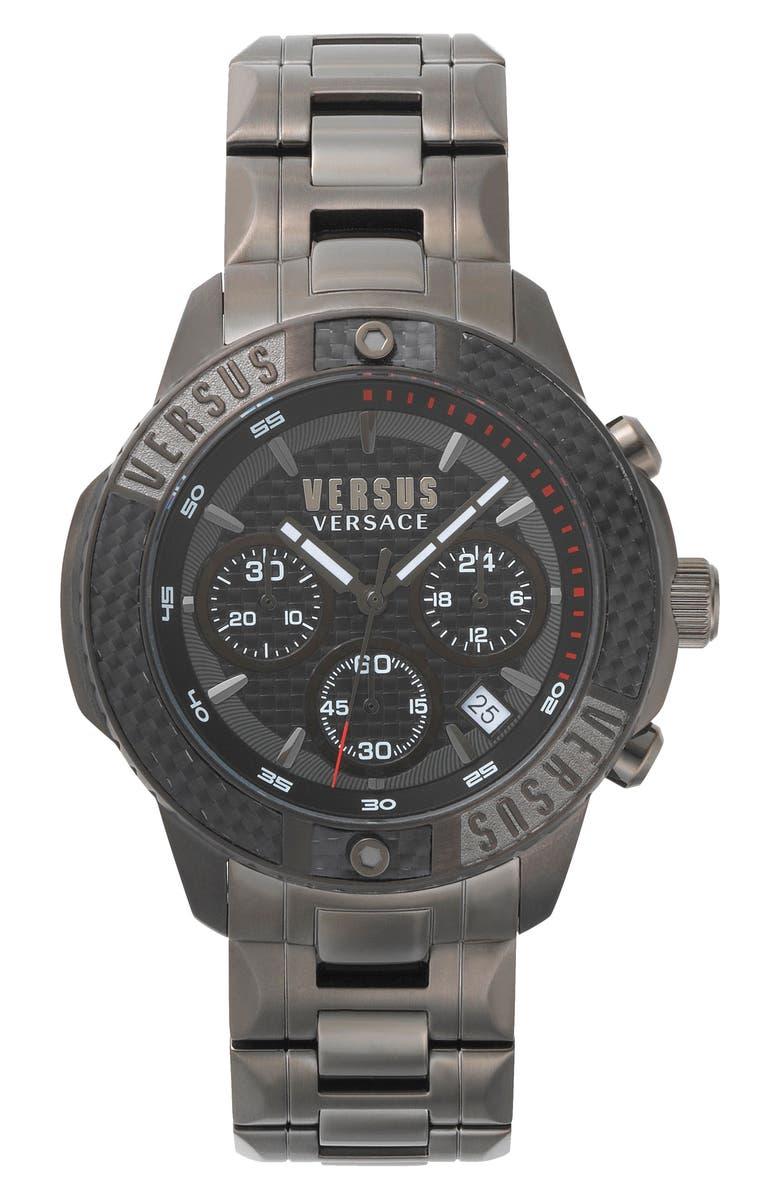 VERSUS VERSACE Admiralty Chronograph Bracelet Watch, 44mm, Main, color, GUNMETAL/ BLACK/ GUNMETAL
