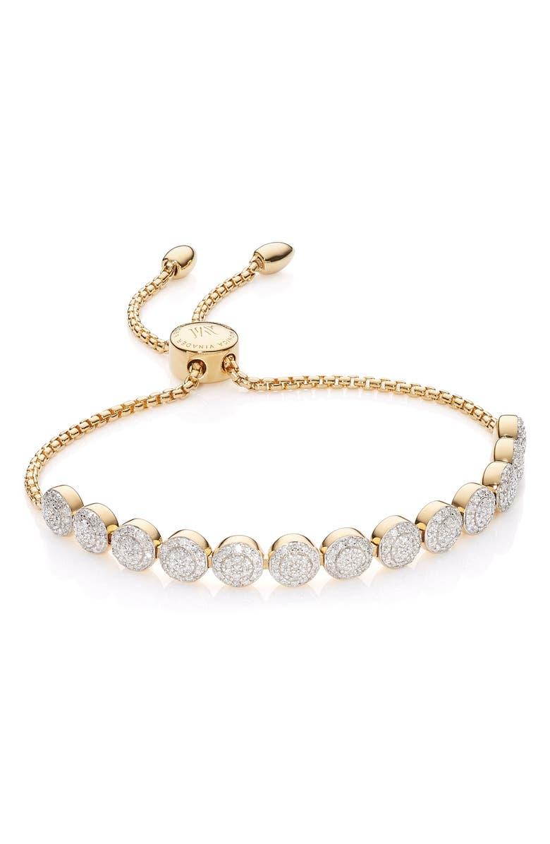 MONICA VINADER Fiji Beaded Chain Diamond Bracelet, Main, color, GOLD
