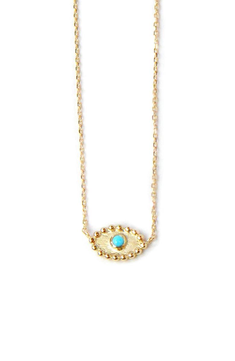 ANZIE Dew Drop Turquoise Evil Eye Pendant Necklace, Main, color, GOLD