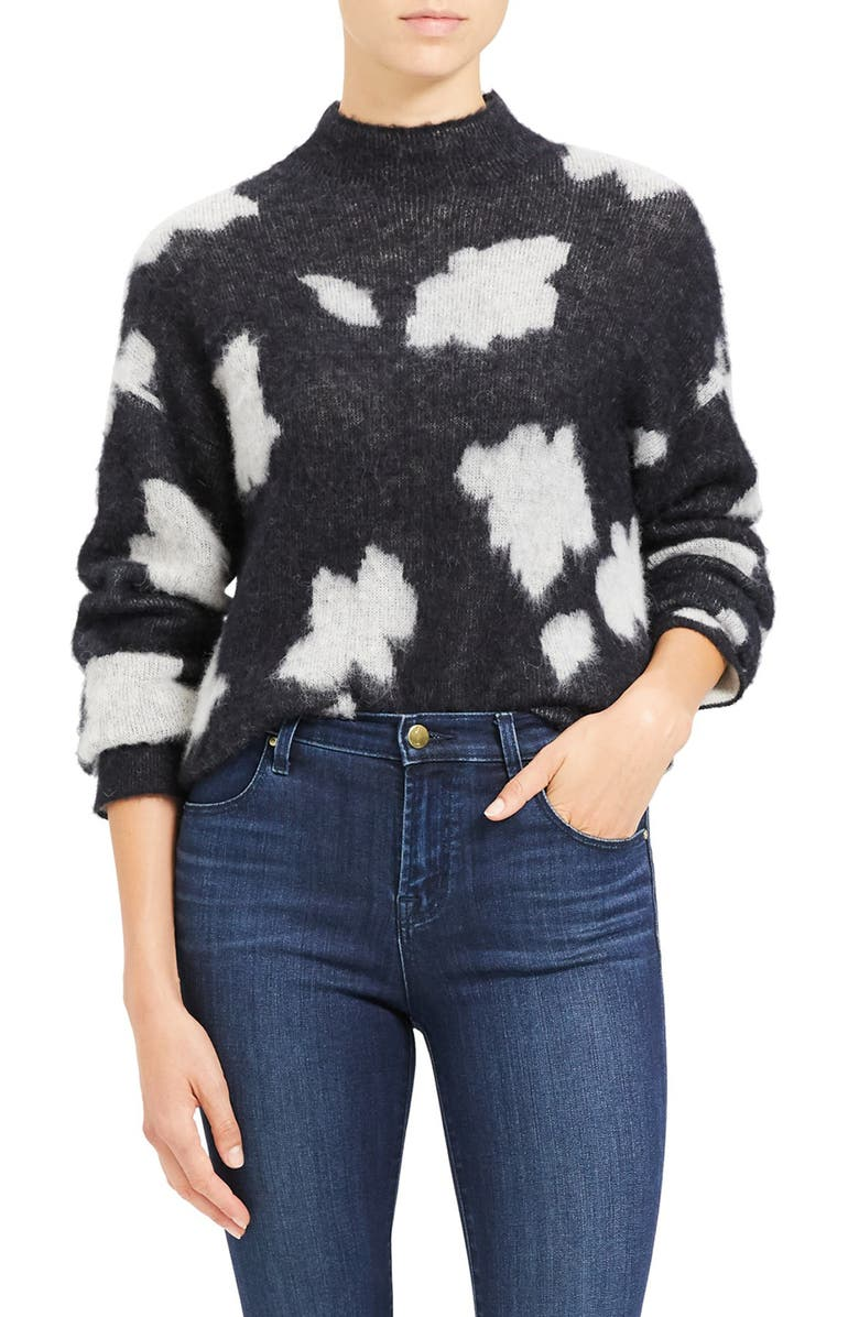 THEORY Floral Sweater, Main, color, BLACK MULTI