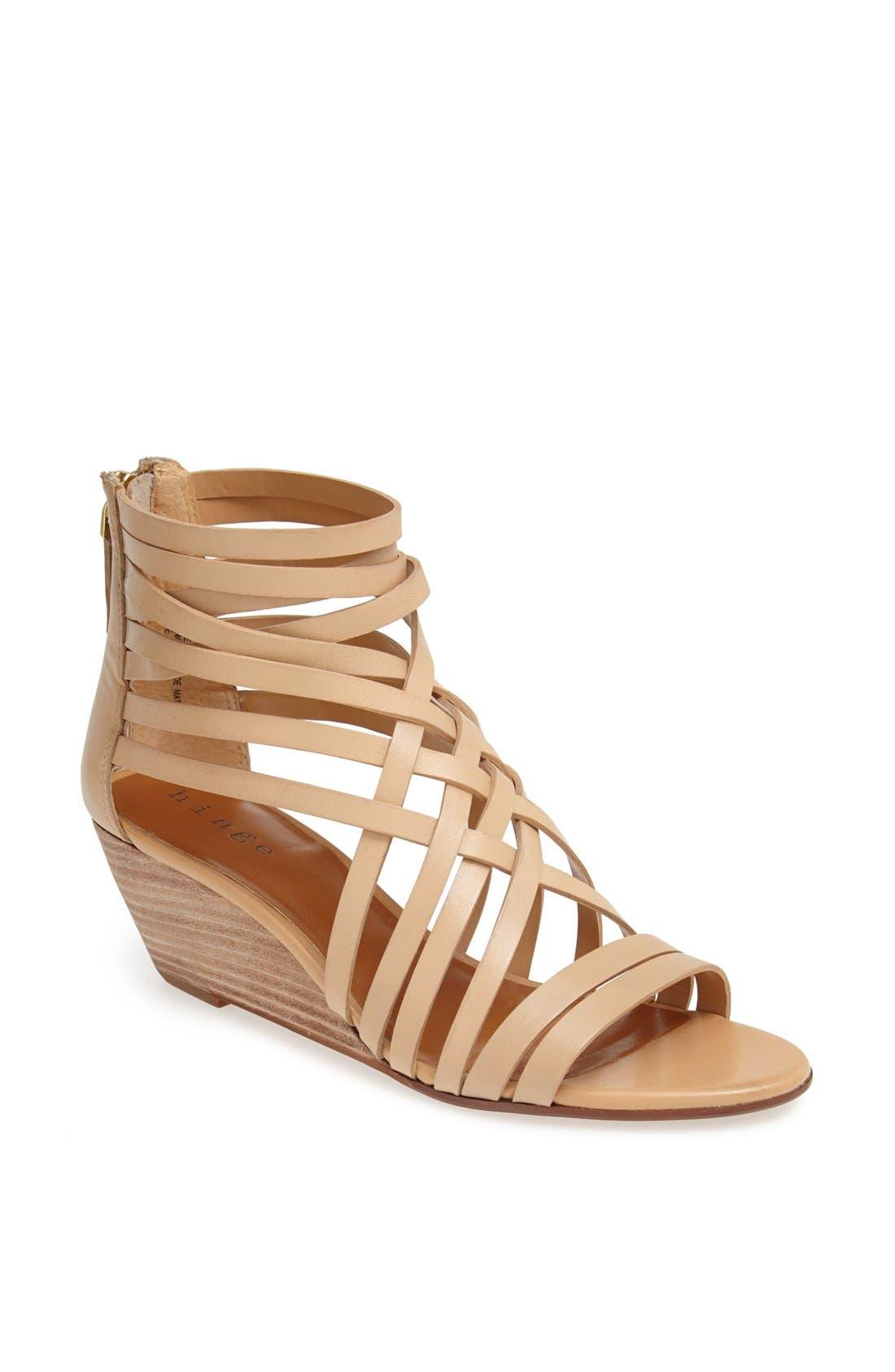 ,                             'Neta' Leather Wedge Sandal,                             Main thumbnail 17, color,                             252