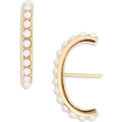 Argento Vivo Imitation Pearl Suspender Stud Earrings