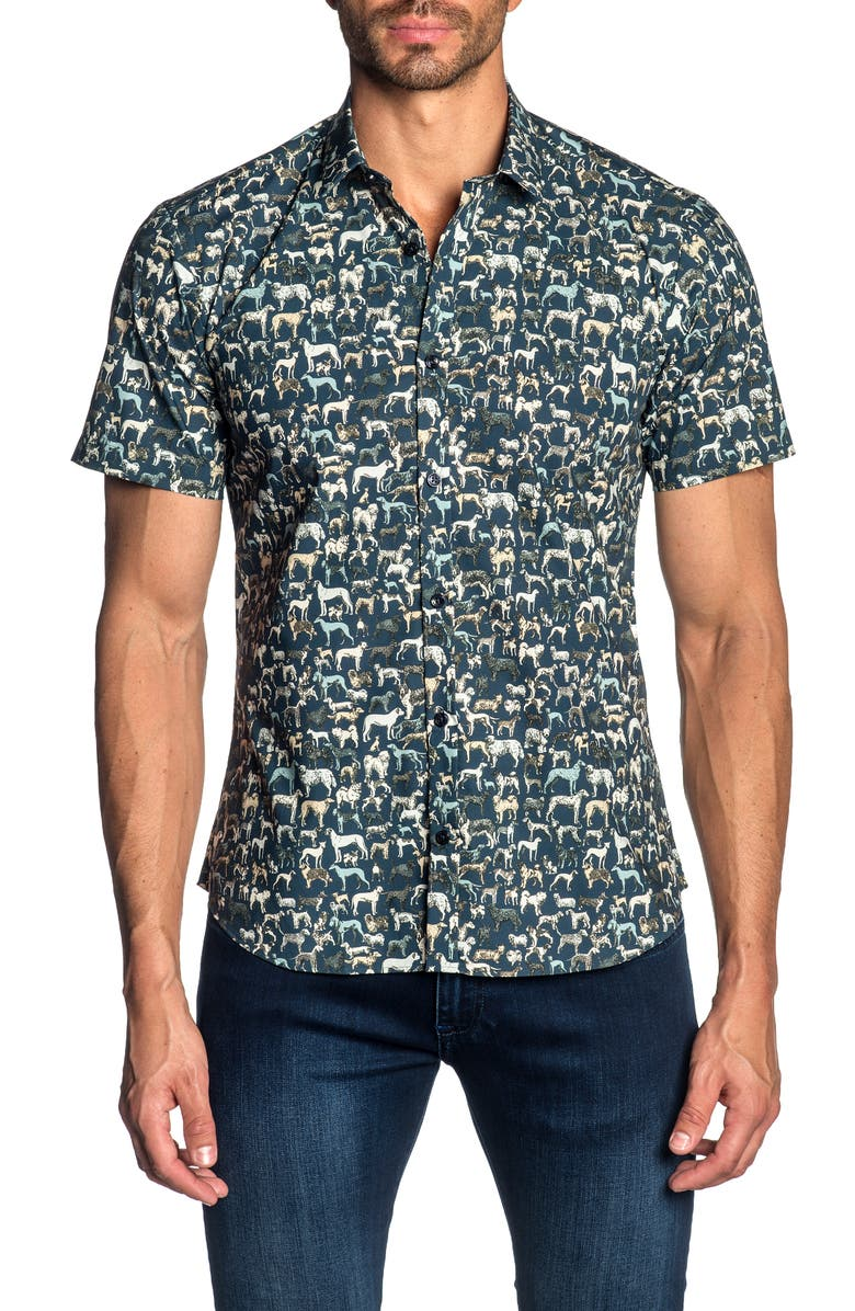 JARED LANG Slim Fit Print Sport Shirt, Main, color, 180