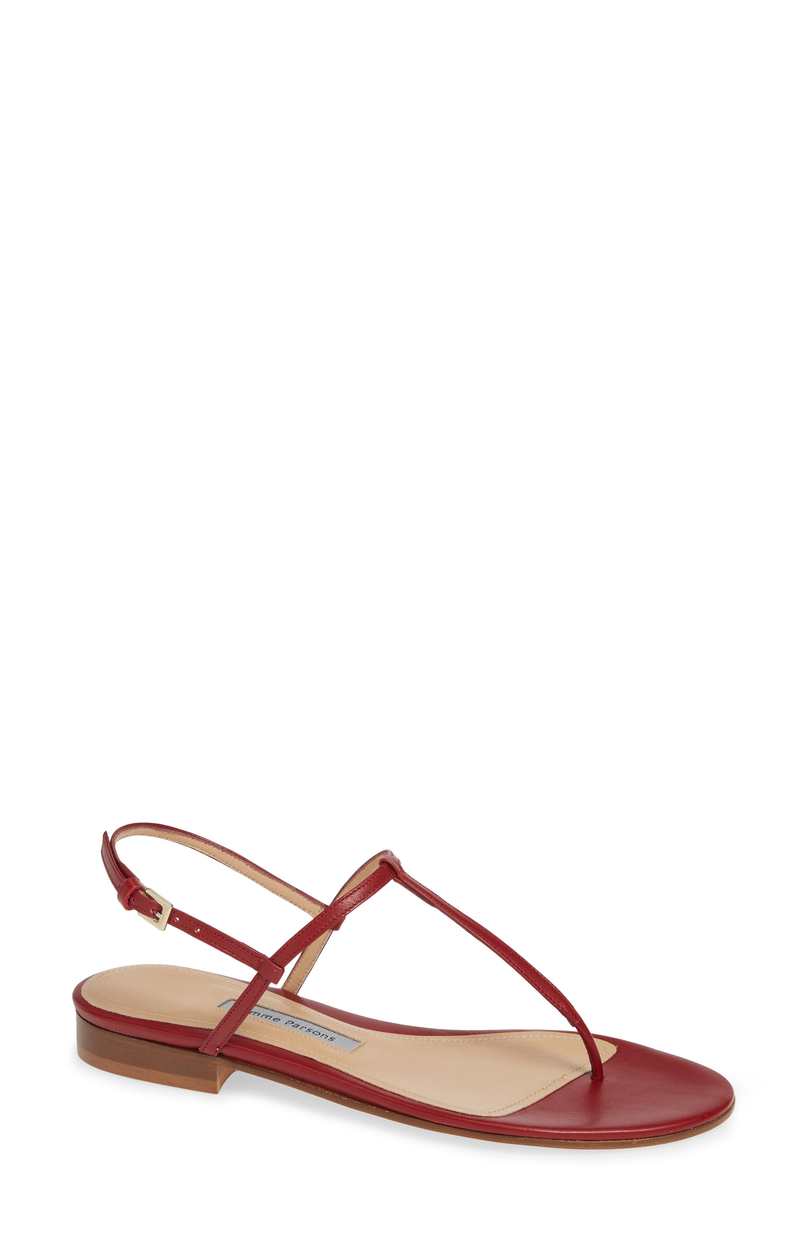 Emme Parsons Cecilia T-Strap Flat Sandal, Red