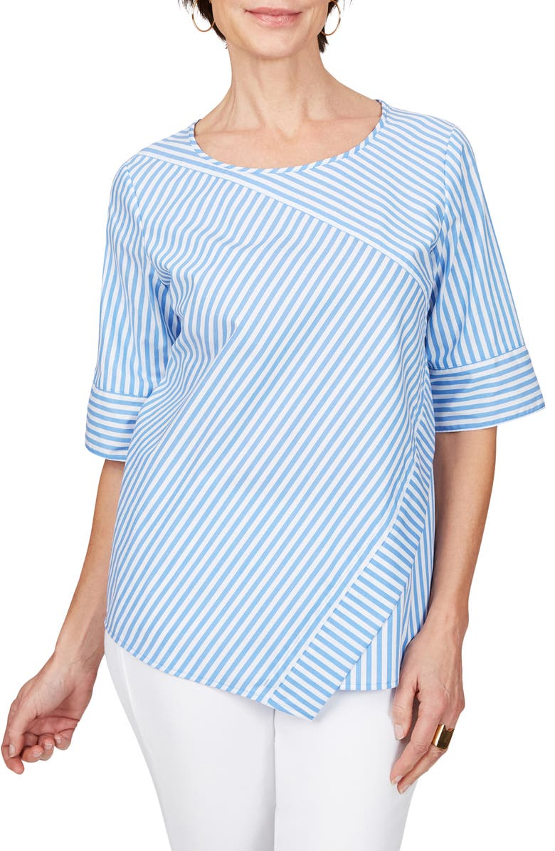 FOXCROFT Koralie Twill Stripe Wrinkle Free Top, Main, color, 424