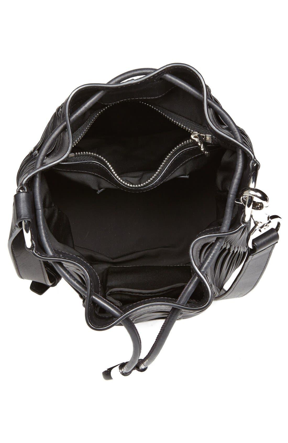 ,                             'Alpha' Woven Leather Bucket Bag,                             Alternate thumbnail 3, color,                             001