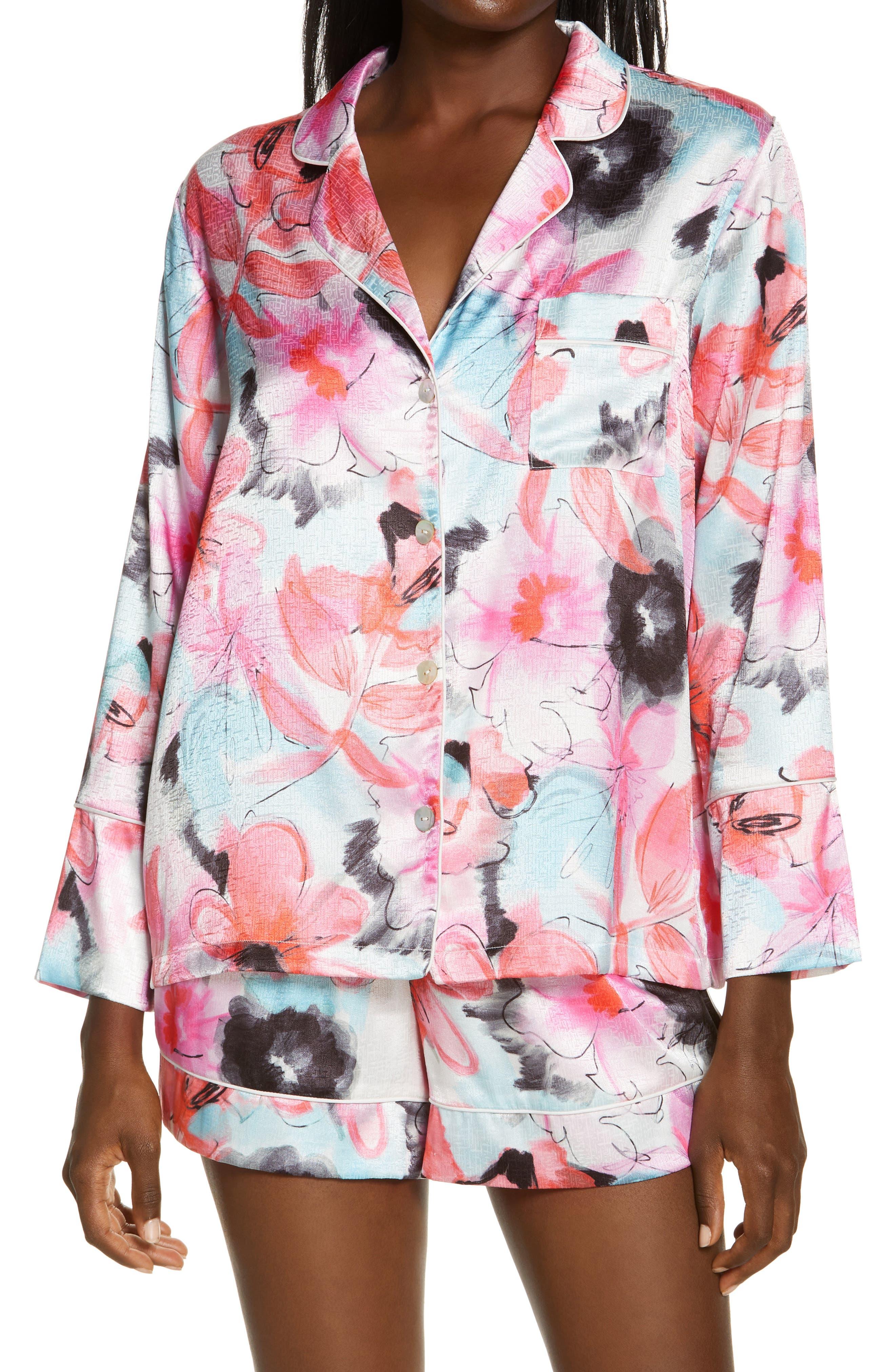 Floral Jacquard Short Satin Pajamas