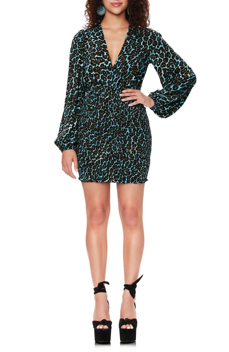 AFRM Jones Smocked Minidress, Main, color, AQUA LEOPARD