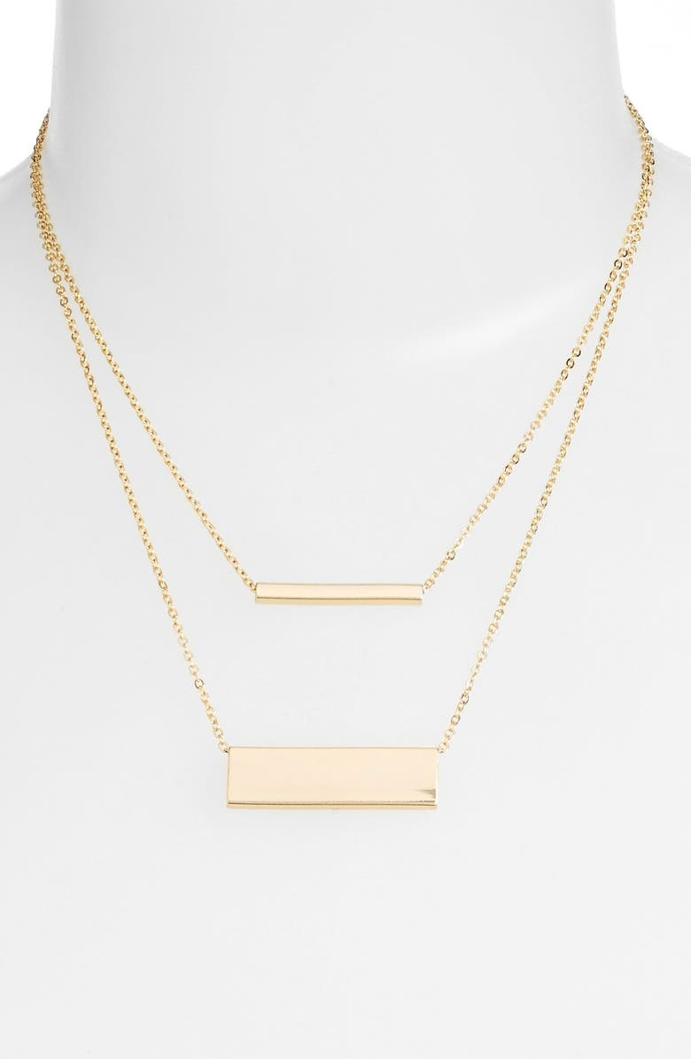 JULES SMITH Layered Double Bar Necklace, Main, color, YELLOW GOLD