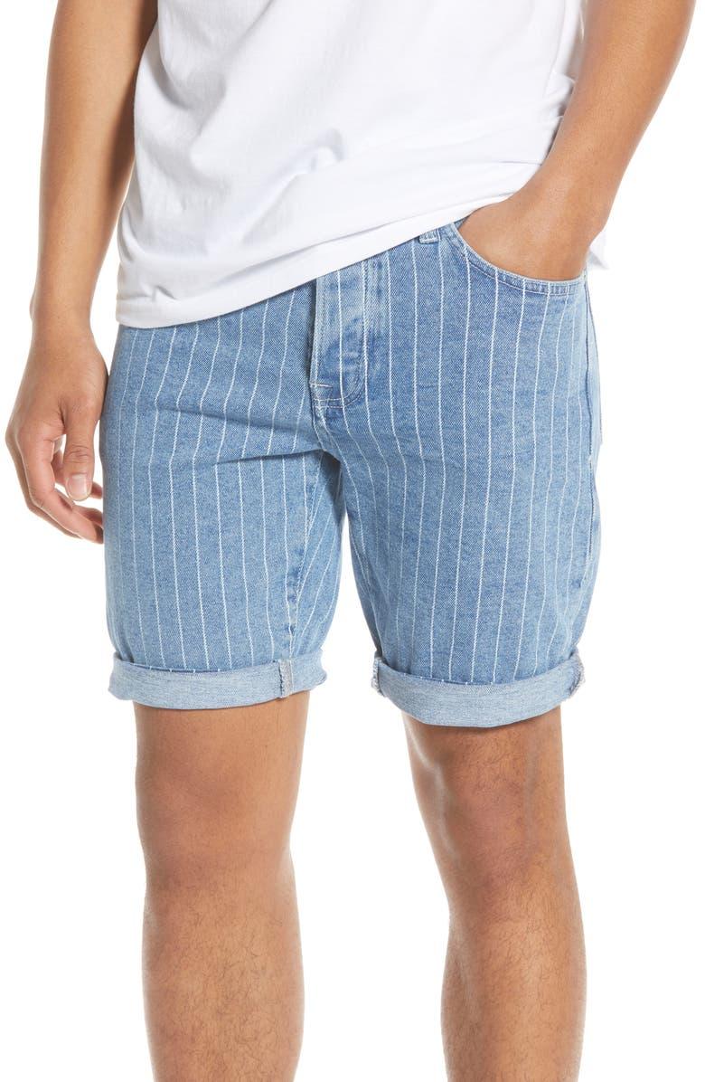TOPMAN Stripe Skinny Denim Shorts, Main, color, BLUE