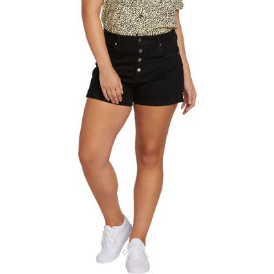 Plus Size Volcom Vol Stone Denim Shorts, Black