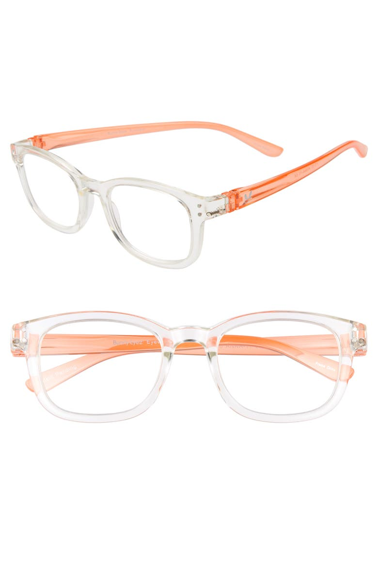 BUNNY EYEZ The Anna 49mm Reading Glasses, Main, color, DIAMOND CRYSTAL CLEAR/ ORANGE