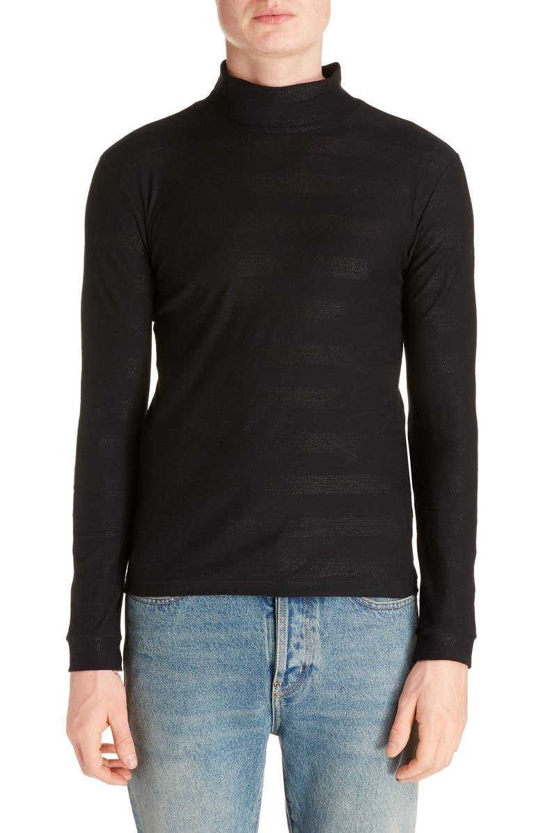 SAINT LAURENT Stripe Mock Neck Long Sleeve T-Shirt, Main, color, BLACK