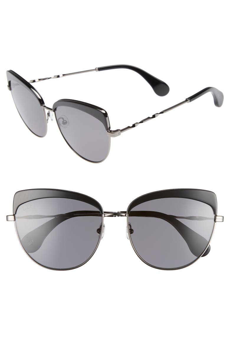 DIFF Izzy 59mm Polarized Cat Eye Sunglasses, Main, color, 001